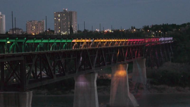 Edmonton's High Level Bridge was lit in the colours of the medicine wheel for June 21.