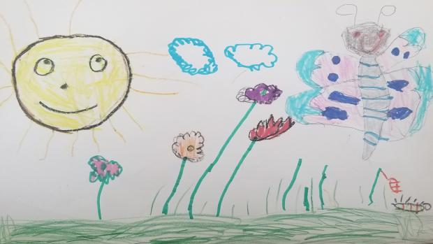 Inspired by her experience raising butterflies - Vittoria Veilleux, 5, JK, St. Luke