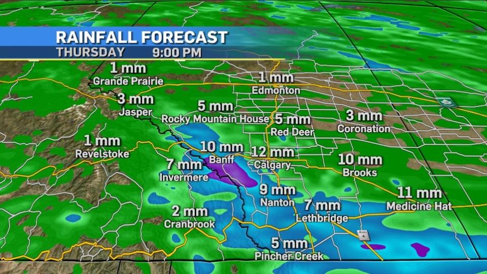 Calgary weather, rainfall, Thursday, June 24