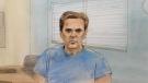 Paul Bernardo in seen in this parole hearing court sketch, Tuesday, June 22, 2021. (Source: John Mantha / CTV News)
