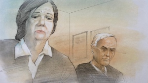 The French family is shown in this courtroom sketch during Ontario court proceedings via video link in Napanee, Ont., on June 22, 2021. THE CANADIAN PRESS/Greg Banning(CTV News Toronto/John Mantha)