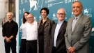 Directors of international film festivals, from right Alberto Barbera (Venice Film Festival), Thierry Frémaux (Festival de Cannes), Lili Hinstin (Locarno Film Festival), José Luis Rebordinos (San Sebastian International Film Festival) Vanja Kaludjercic (International Film Festival Rotterdam), and Karel Och (Karlovy Vary International Film Festival), pose during a photo call of the 77th edition of the Venice Film Festival at the Venice Lido, Italy, Wednesday, Sept. 2, 2020.