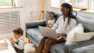 A woman is seen working from home in this stock image. (Pexels)