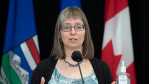 Alberta's chief medical officer of health Dr. Deena Hinshaw provided, from Edmonton on Tuesday, June 8, 2021, an update on COVID-19 and the ongoing work to protect public health. (photography by Chris Schwarz/Government of Alberta)