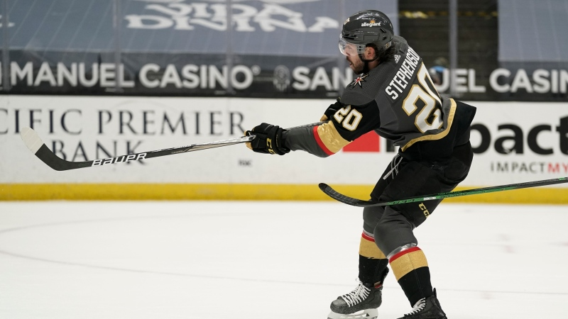 Vegas Golden Knights' Chandler Stephenson may return to the lineup tonight against the Montreal Canadiens in Game 5. (AP Photo/Jae C. Hong)