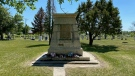 The statue of Father Hugonard has been removed from a Lebret cemetery. (Hafsa Arif/CTV News)