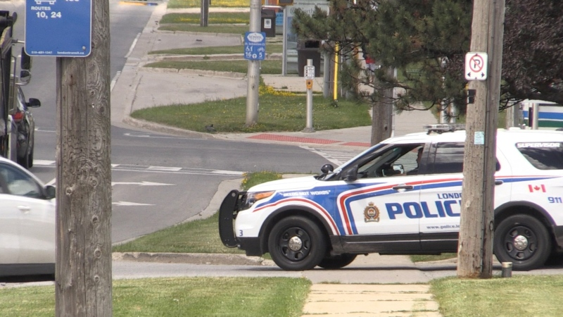 Suspect arrested after two London, Ont. police officers were allegedly assaulted on June 22, 2021. (Bryan Bicknell/CTV London)