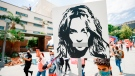 #FreeBritney activists protest outside Courthouse in Los Angeles during Conservatorship Hearing on April 27 in Los Angeles, California. (Matt Winkelmeyer/Getty Images via CNN)