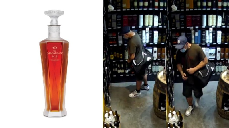 Oak Bay police are searching for the stolen whisky and the man who is believed to have swiped the bottle: (Oak Bay Police)
