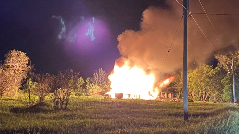 A home on Sagkeeng First Nation is engulfed in flames on June 21, 2021. (Image source: Manitoba RCMP)