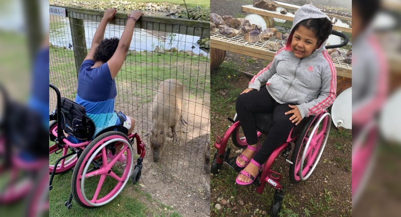Aaliyah Faulknor is seen in her wheelchair in this family photo. (Source: Haley Cushman / Facebook)