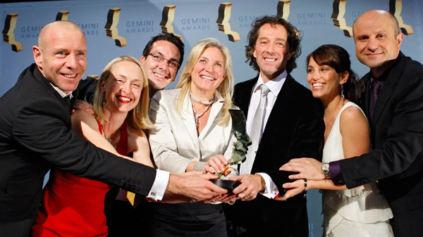 The producers and cast of 'Flashpoint' pose with their Gemini Award for Best Dramatic Series, in Calgary, on Saturday, Nov. 14, 2009. (Larry Macdougal / THE CANADIAN PRESS)