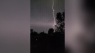 Lightning over London, Ont. is seen in this image taken from video on around 1 a.m. on Monday, June 21, 2021. (Source: Shaun Pratt / Facebook)