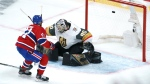 Montreal Canadiens' Paul Byron scores past Vegas Golden Knights goaltender Robin Lehner during second period game 4 NHL Stanley Cup playoff hockey semifinal action in Montreal, Sunday, June 20, 2021. THE CANADIAN PRESS/Paul Chiasson