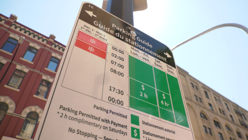 New parking signs in the Exchange District are part of a city pilot program meant to simplify the issue (Glen Pismenny, CTV News)