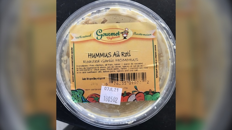 Consumers are being advised not to consume certain Gourmet Végétarien hummus products because they are likely to contain the Listeria monocytogenes bacteria, according to a recall notice issued Tuesday. (Source: MAPAQ)
