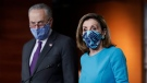 In this Nov. 12, 2020 file photo, U.S. Speaker of the House Nancy Pelosi, D-Calif., and Senate Minority Leader Chuck Schumer, D-N.Y., meet with reporters on Capitol Hill in Washington. (AP Photo/J. Scott Applewhite, File)
