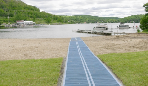Upgrades at the park at Olmsted Beach include a new playground, a wheelchair accessible beach mat, and paved pathways and parking lots. (Jaime McKee/CTV News)