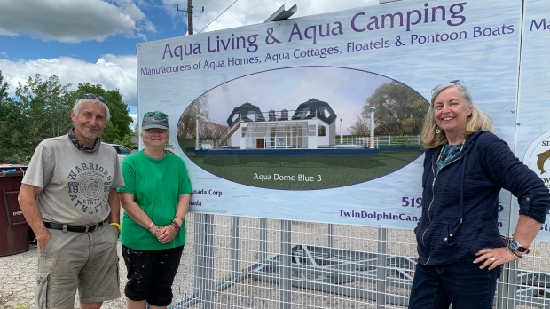 Alex Topol, Sally Joyce and Project Manager, Randa Speller in front of their Strong House Canada office in Wallaceburg, Ont. on Tuesday, June 22, 2021. (Chris Campbell/CTV Windsor)