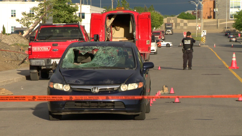 A man was critically injured in a collision in Anjou after he was struck by a car around 4:50 p.m. on Tuesday, June 22, 2021. (Cosmo Santamaria/CTV News)