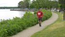 Event organizer Ed Eby of the Brockville Road Runners, jogging along Blockhouse Island. (Nate Vandermeer / CTV News Ottawa)