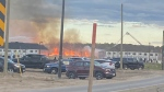 A large fire on Beckview Drive on Tuesday, June 22, 2021. (CTV Kitchener)