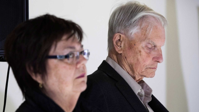 Doug and Donna French listens while the lawyer Tim Danson (not pictured) speaks to the media after Paul Bernardo's parole was denied at Milhaven institution in Bath, Ont., on Wednesday Oct. 17, 2018. THE CANADIAN PRESS/Lars Hagberg