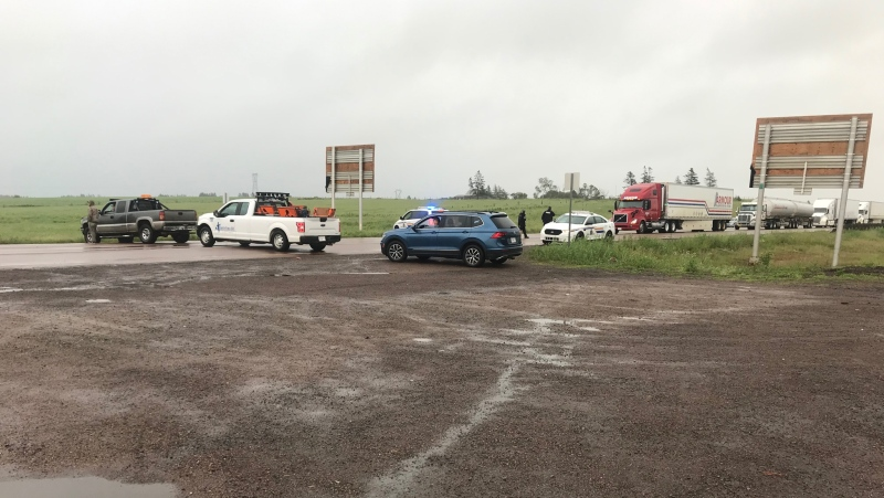 As of Wednesday morning, the Trans-Canada Highway remains blocked, as the protest has moved closer to the N.S./N.B. border, with traffic being diverted to N.S. exit 4. (Photo: Sarah Plowman / CTV Atlantic)