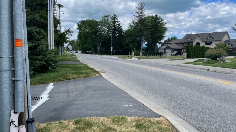 The trail is planned for the south side of Riverside Drive in Tecumseh, Ont., on Tuesday, June 22, 2021. (Melanie Borrelli / CTV Windsor)