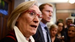Minister of Crown-Indigenous Relations Carolyn Bennett, left, and Minister of Indigenous Services Marc Miller, second from left, talk to reporters in the foyer of the House of Commons on Parliament Hill in Ottawa on Monday Feb. 24, 2020. THE CANADIAN PRESS/Sean Kilpatrick