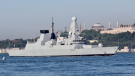 The British Royal Navy's Type 45 Destroyer, HMS Defender setting sail in the Bosphorus, on its way to the Black Sea, in Istanbul, Turkey, June 14, 2021.
