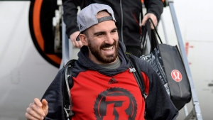 Ottawa Redblacks Brad Sinopoli waves after arriving in Ottawa after winning the Grey Cup, against the Calgary Stampeders, on Monday, Nov. 28, 2016. (THE CANADIAN PRESS/Justin Tang)