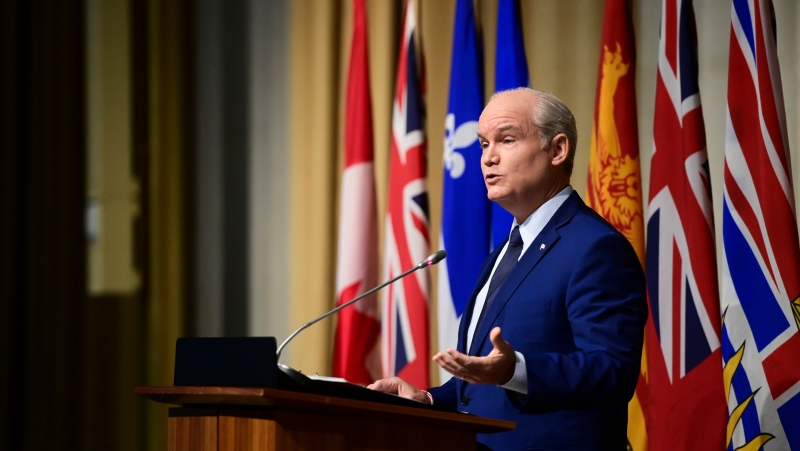 Conservative Leader Erin O'Toole addresses the Conservative caucus during a meeting in Ottawa on Wednesday, June 23, 2021. THE CANADIAN PRESS/Sean Kilpatrick
