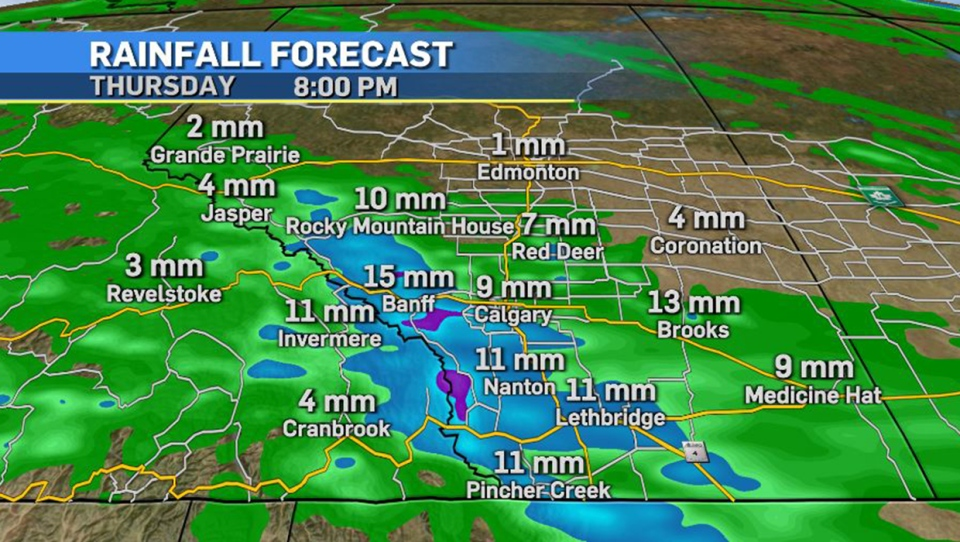 Southern Alberta, rainfall, forecast, June 24