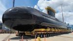 HMCS Corner Brook leaves dry dock at Canadian Forces Base Esquimalt, B.C., on June 13, 2021. (DND/MARPAC Imaging Services)