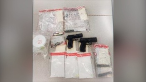 Police have seized weapons and drugs following a call in Cambridge (Supplied: WRPS)