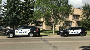 Edmonton police are investigating a weapons complaint in the area of 140 Avenue and 121 Street after a man was taken to hospital with an apparent gunshot wound on Wednesday, June 23, 2021. (Evan Klippenstein/CTV News Edmonton)