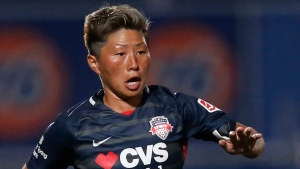 In this June 27, 2020, file photo, Washington Spirit forward Kumi Yokoyama dribbles the ball during the second half of an NWSL Challenge Cup soccer match against Chicago Red Stars at Zions Bank Stadium, in Herriman, Utah. Yokoyama said they are transgender, a revelation praised in the U.S. where they play in the National Women's Soccer League but an identity not recognized in Japan. (AP Photo/Rick Bowmer, File)