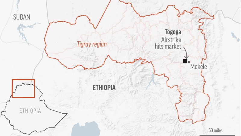Health workers in Ethiopia's Tigray region say an airstrike has hit a busy village market. (AP)