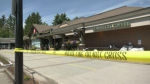 The Safeway at Caulfeild Village in West Vancouver is seen behind police tape during a bomb threat hoax on June 17. (CTV)