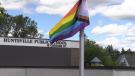 Huntsville Public School replaced its Progress Pride flag after the original was damaged in Huntsville, Ont. on Wed. June 23, 2021 (Mike Arsalides/CTV News)