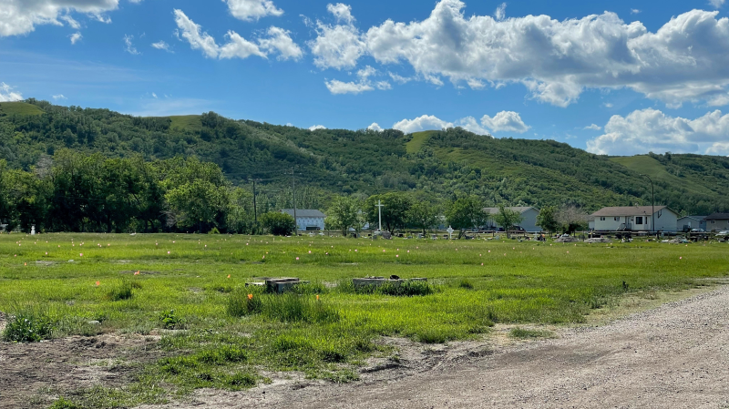 Hundreds of unmarked graves were discovered at the site of the former Marieval Indian Residential School, according to the Federation of Sovereign Indigenous Nations. (Kaylyn Whibbs/CTV News)