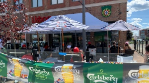 The patio at Lisboa in Kitchener on June 23, 2021. (Jessica Smith/CTV Kitchener)