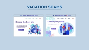 Beware of look-alike websites. Can you see the difference? Even the fake has a secure URL to convince you it's legitimate. The one on the right is fake - notice the 's'?