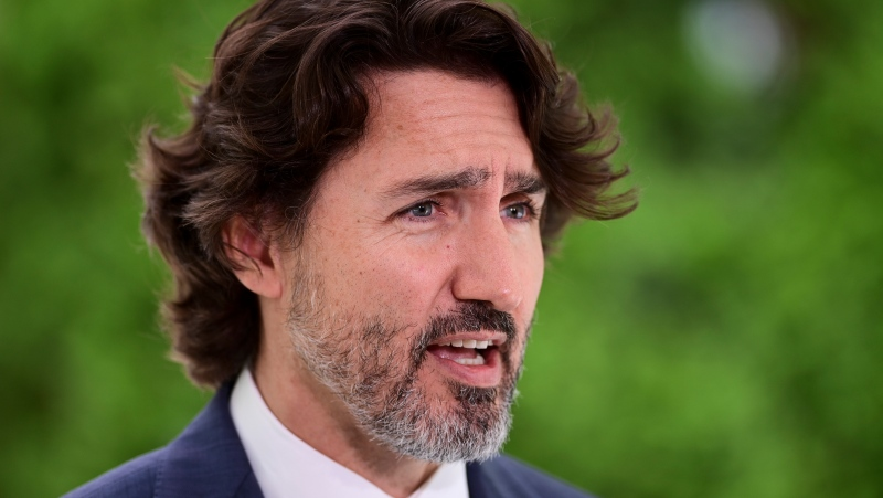 Prime Minister Justin Trudeau holds a press conference at Rideau Cottage in Ottawa on Tuesday, June 22, 2021. (THE CANADIAN PRESS/Sean Kilpatrick)