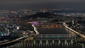 A night view of South Korea's capital Seoul with the Han River is seen in Seoul, South Korea, Friday, Aug. 7, 2020. (AP Photo/Lee Jin-man)