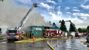 Crews were at Stony Plain's Westridge Curling Club Wednesday night trying to put out a large fire. June 23, 2021. (Sean Amato/CTV News Edmonton)