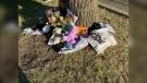 A shrine set up along Burrows Avenue remembering Sanchez Boulanger. (Source: Devon McKendrick/CTV News)