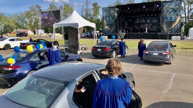 St. Francis Xavier students celebrated their high school graduation at Castrol Raceway Wednesday. June 23, 2021. (Sean Amato/CTV News Edmonton)