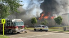 Crews trying to put out a fire at Westridge Curling Club in Stony Plain. June 23, 2021. (Courtesy: Jimmy Kritikos)